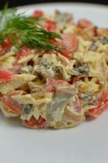 Mushroom Bell Pepper Salad on a plate