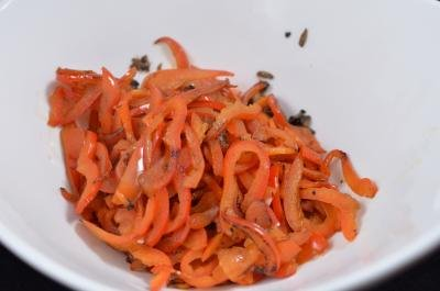 Sautéed red bell peppers in a bowl