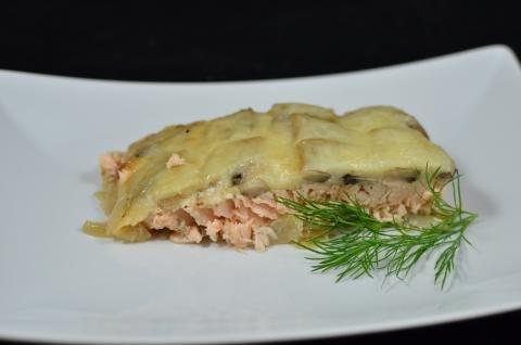 Salmon Mushroom Bake on a plate