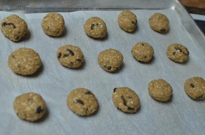 Balls of the cookie mix, teaspoon sized, spaced out on a baking sheet
