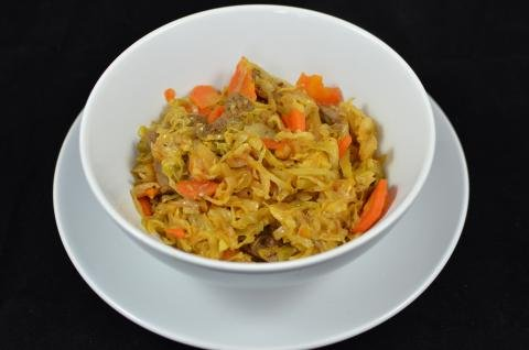 Stewed Cabbage with Meat in a bowl