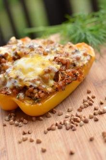 Stuffed Bell Pepper on a cutting board