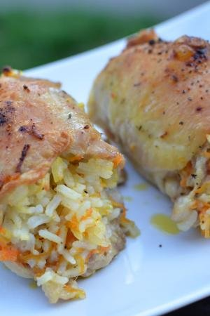 Rice Stuffed Chicken Thighs on a plate