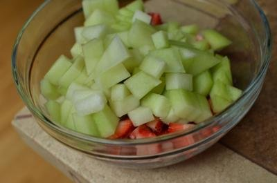 Honeydew Fruit Salad in a bowl