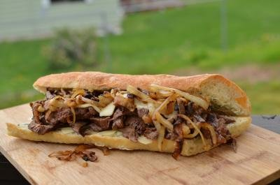 Steak Sandwich on a cutting board