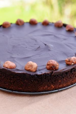 Chocolate Hazelnut Tart on a tray