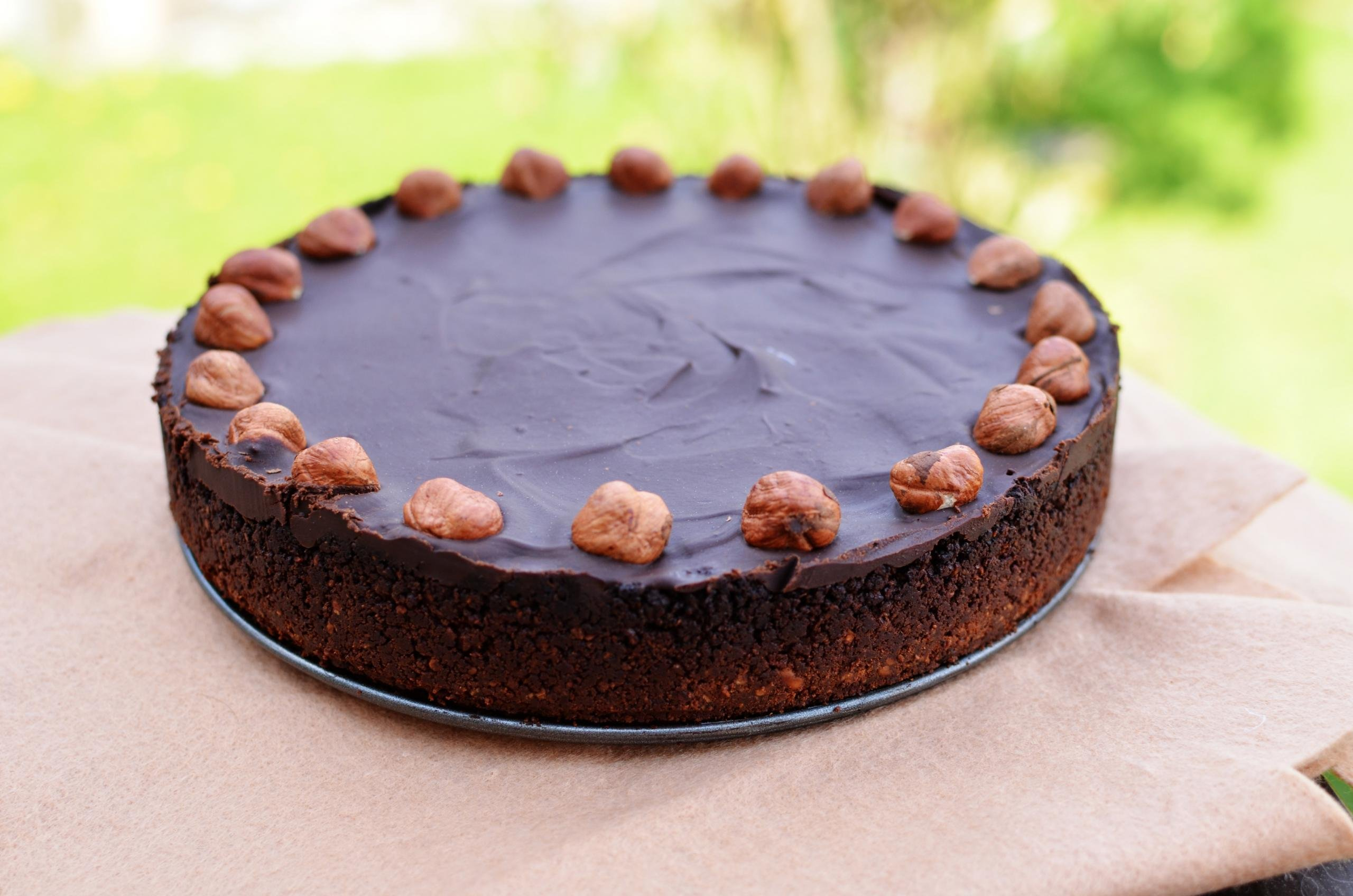 Chocolate Hazelnut Tart on a tray