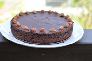 Chocolate Hazelnut Tart on a plate