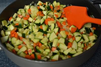 Chopped vegetables in a skillet