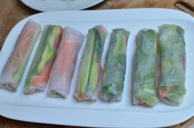 Spring Rolls With Salmon in a row on a plate