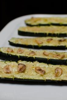 Lemon Garlic Baked Zucchini on a serving plate