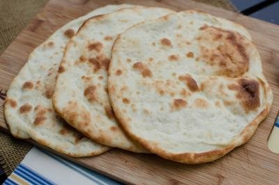 Naan Bread on a cutting board