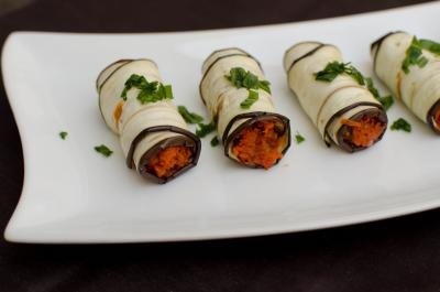Eggplant Roll Up Appetizer on a long plate