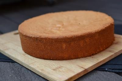 Kiev Cake sponge cake on a cutting board