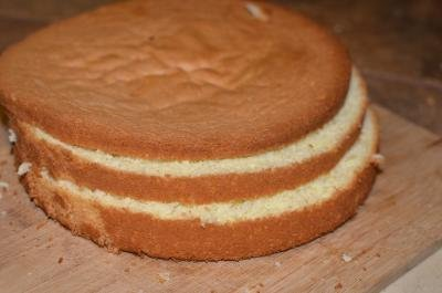 Kiev sponge cake cut horizontally into 3 thin layers