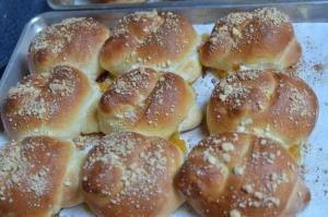 Russian Bulochki Knots in rows on a baking sheet