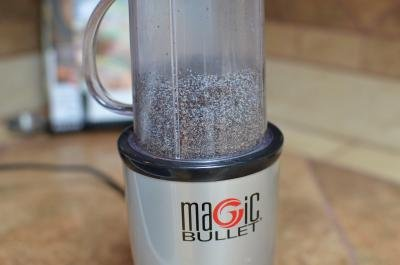 Poppy Seeds being grinded in a food processor