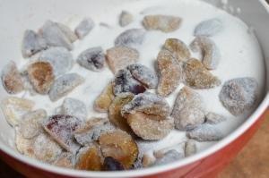 Prunes covered in sugar