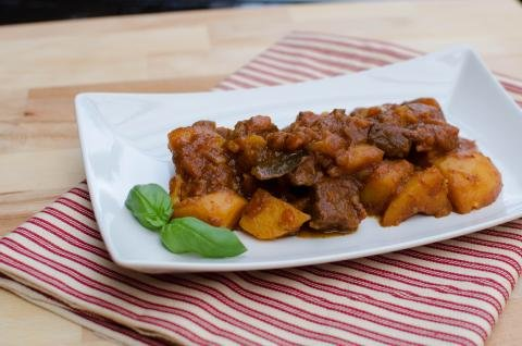 Braised Potatoes with Beef on a plate