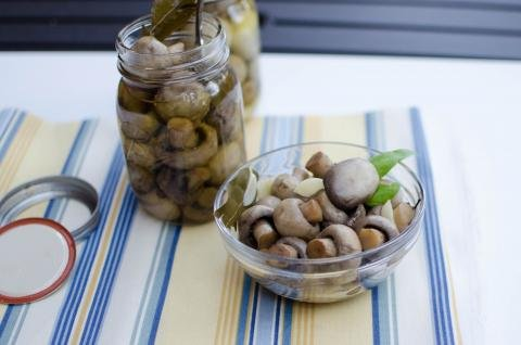 Pickled Mushrooms in a bowl and in a jar on the table