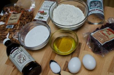 Ingredients on a tray for Cranberry Almond Biscotti