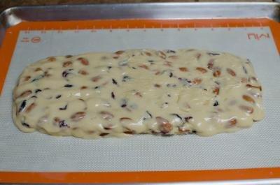 Biscotti dough on a baking sheet
