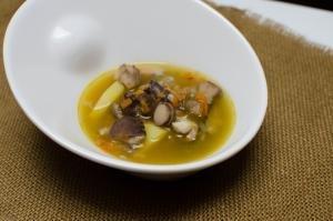 A bowl of wild mushroom soup