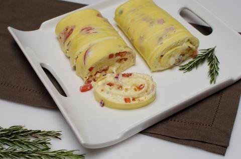Omelette Rolls on a serving tray