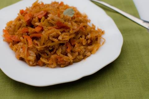 Cabbage Rice Stew on a serving plate
