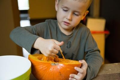 A child pulling out pumpkin seeds using his hands