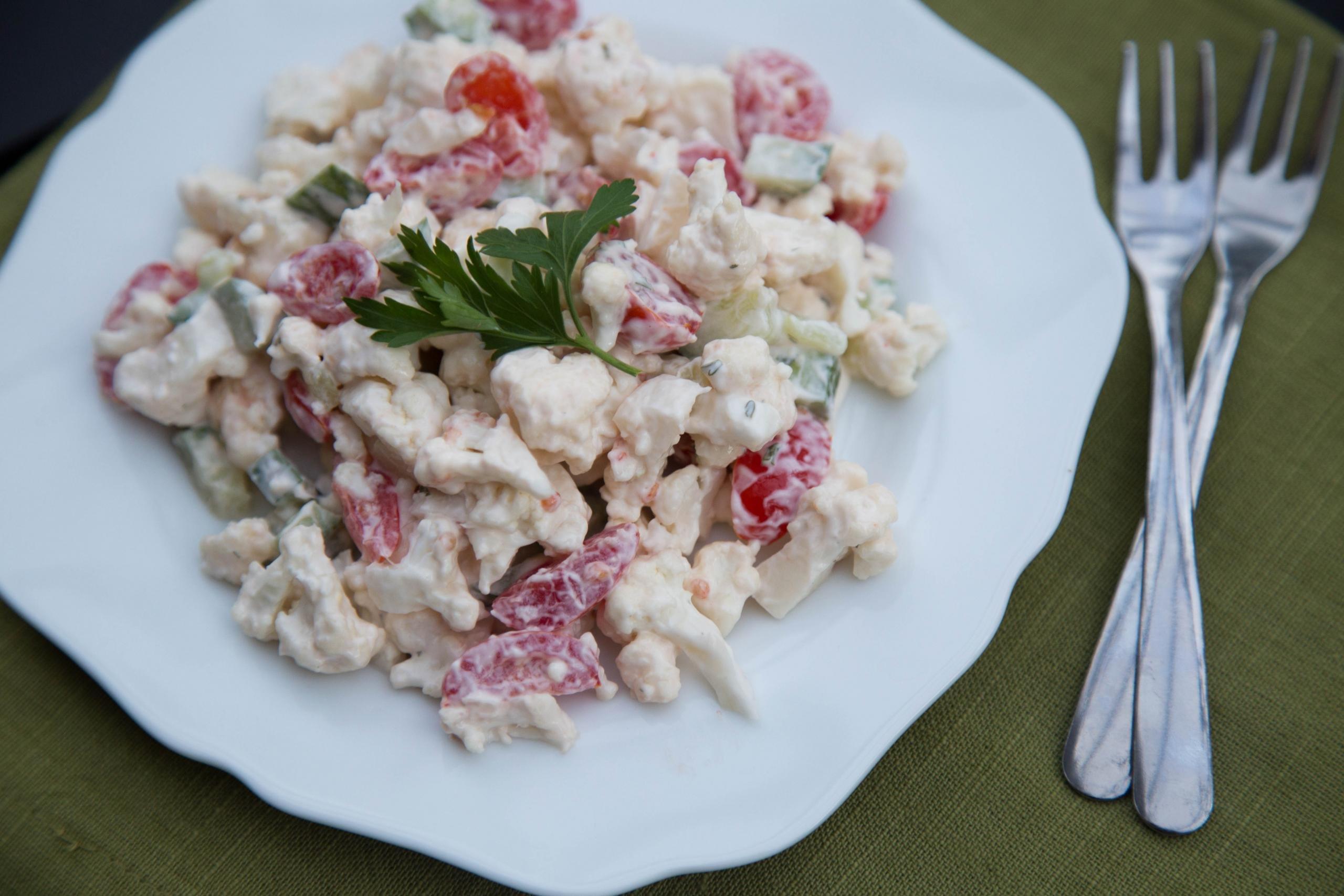 Fresh Cauliflower Salad on a plate