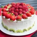 Rainbow Fruit Cake on a plate
