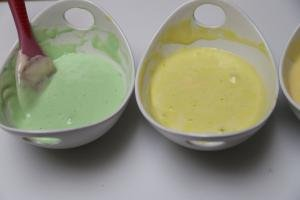 Food coloring folded into the dough: one is green other is yellow