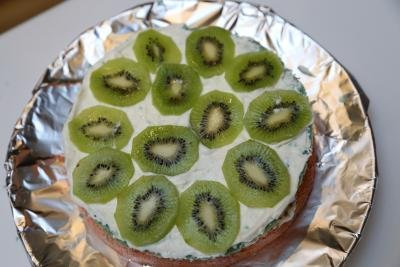Cake layer with cream and kiwi slices on top