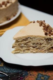 Meringue Napoleon Cake slice on a plate