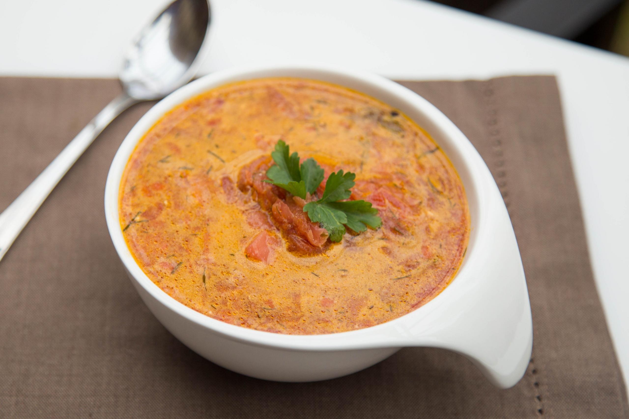 Russian Creamy Beet Borscht in a bowl