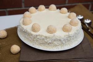 Ferrero Raffaello Cake on a plate