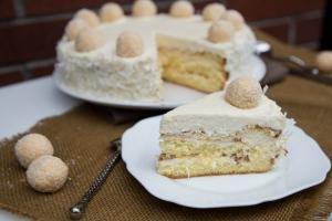 Ferrero Raffaello Cake slice on a plate
