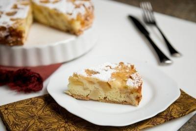 Sharlotka Apple Cake slice on a plate