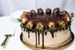 Strawberry Chocolate Cake on a serving tray