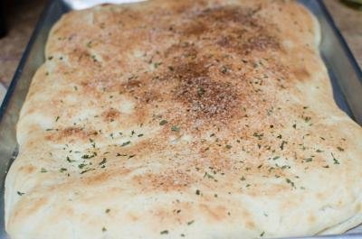 Easy Focaccia Bread on a baking pan