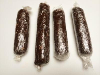Chocolate Salami rolled up in plastic wrap