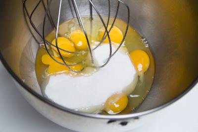 Sugar and eggs in a KitchenAid mixer