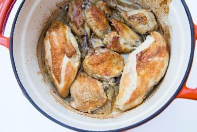 Beer Roasted Chicken in a baking pot