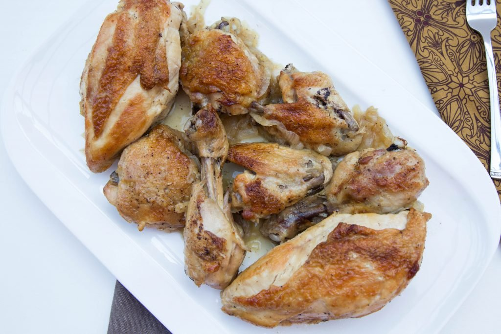 Beer Roasted Chicken on a plate