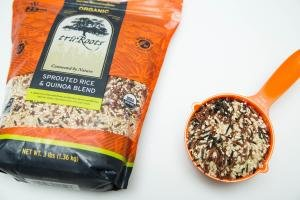 A bag of sprouted rice and quinoa blend in the bag and in a measuring cup