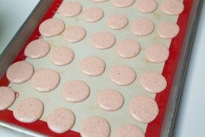 Pink macarons pipped onto a baking sheet lined with a silicon mat