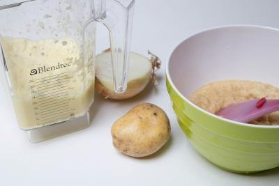 Blended potatoes, bowl with ingredients for Oladi