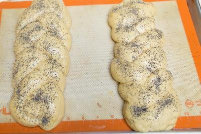 European Easter Bread on a baking pan lined with a silicon mat