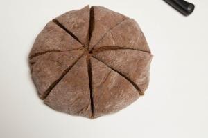 Dough cut into 8 equal triangle pieces